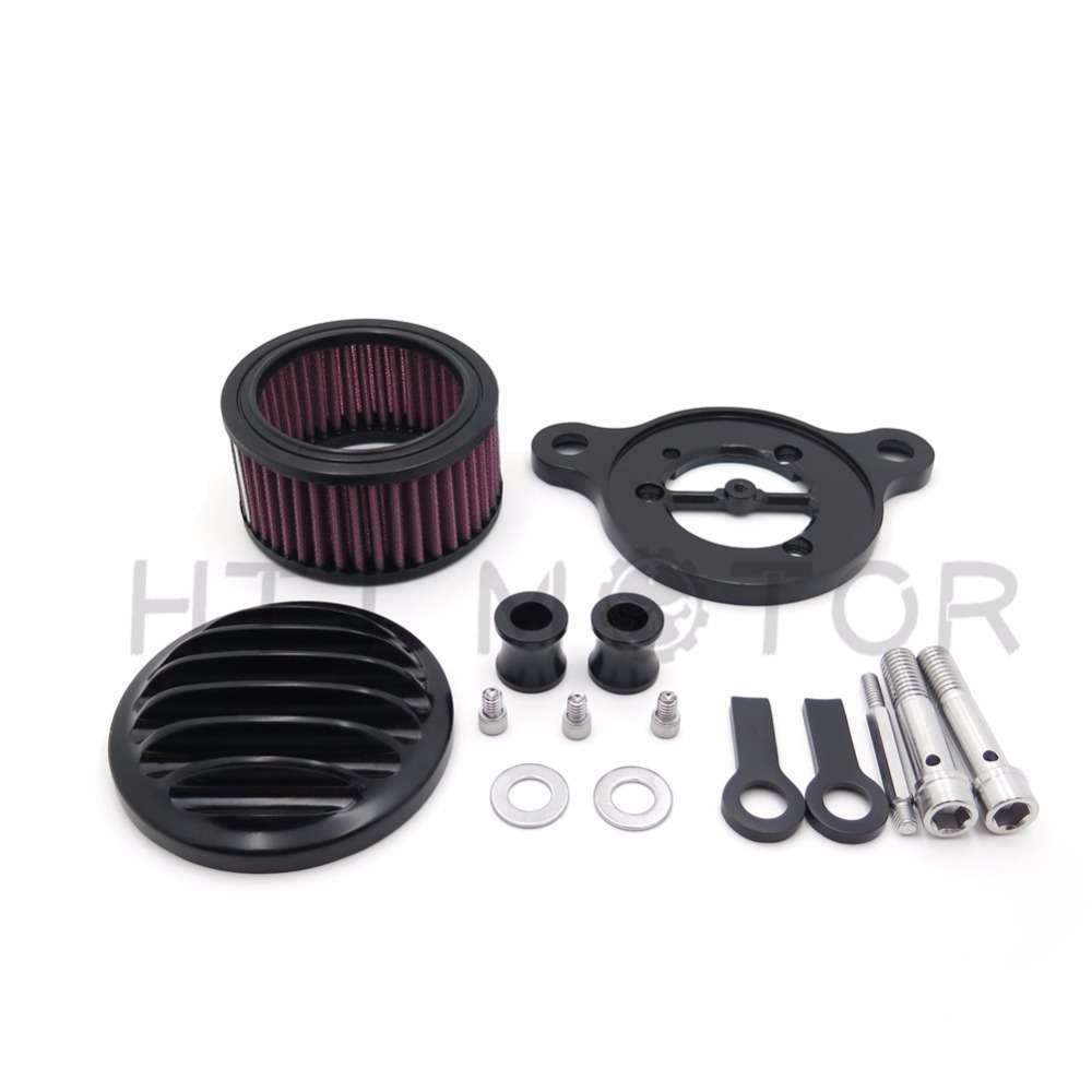 Aftermarket free shipping motor parts Air Cleaner Intake Filter System Kit For Harley Sportster XL883 XL1200 1988 2015 Black See