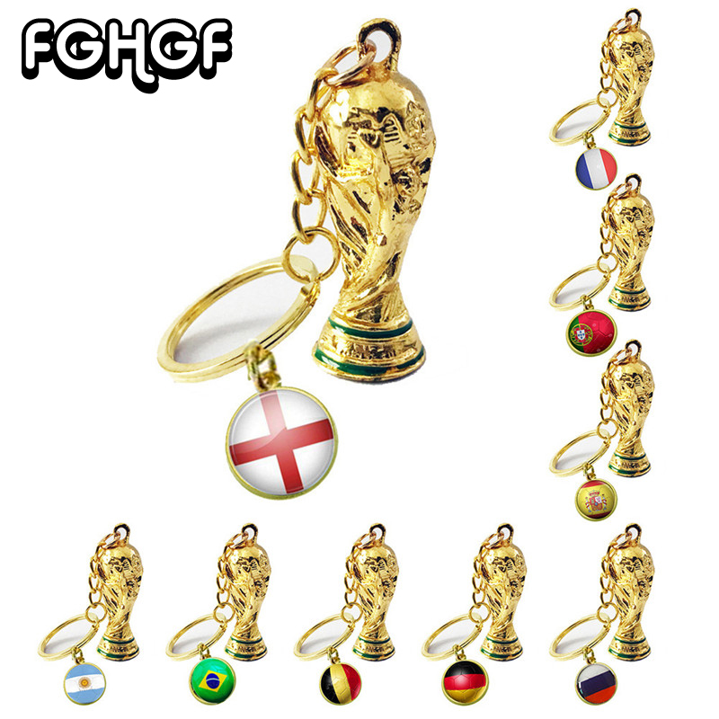 Football Fan Souvenir Ball Game Gift Key Ring Football Metal Trophy 2018 World Cup Trophy Key Holder Hercules Cup Flag Trophy