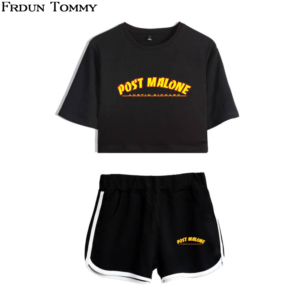 Post Malone Two Piece Sets 2018 New Fashion For Women Crop Top Casual Clothes Summer Short Pants And T-shirts