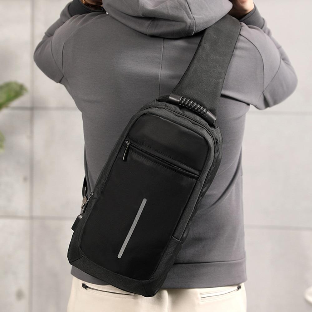 Multi-функциональная сумка через плечо Повседневное светоотражающие ленты груди мешок с  ...