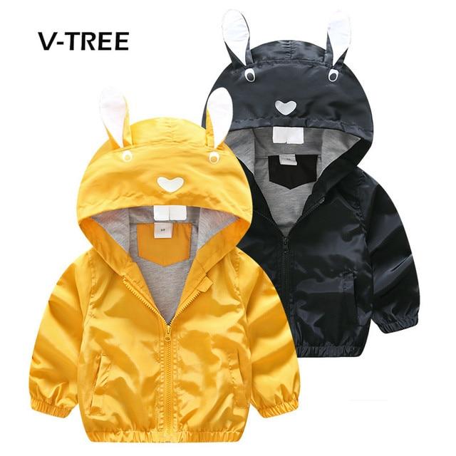 V-Tree Осень пальто для мальчиков кролик стильная куртка пальто для мальчика на молнии с капюшоном кардиган Обувь для мальчиков ветровка От 2 до 6 лет