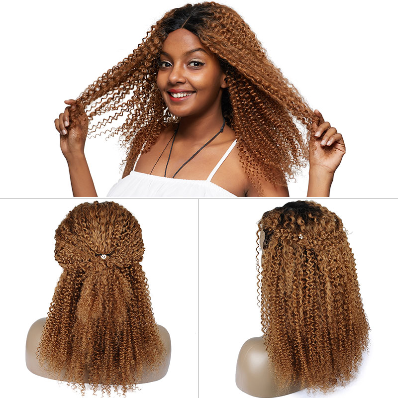 Pinshair Ombre Blonde Afro Kinky Curly Human Hair Wigs for Women T1B30 Brazilian Lace Front Human Hair Wig Non-Remy Closure Wig (71)