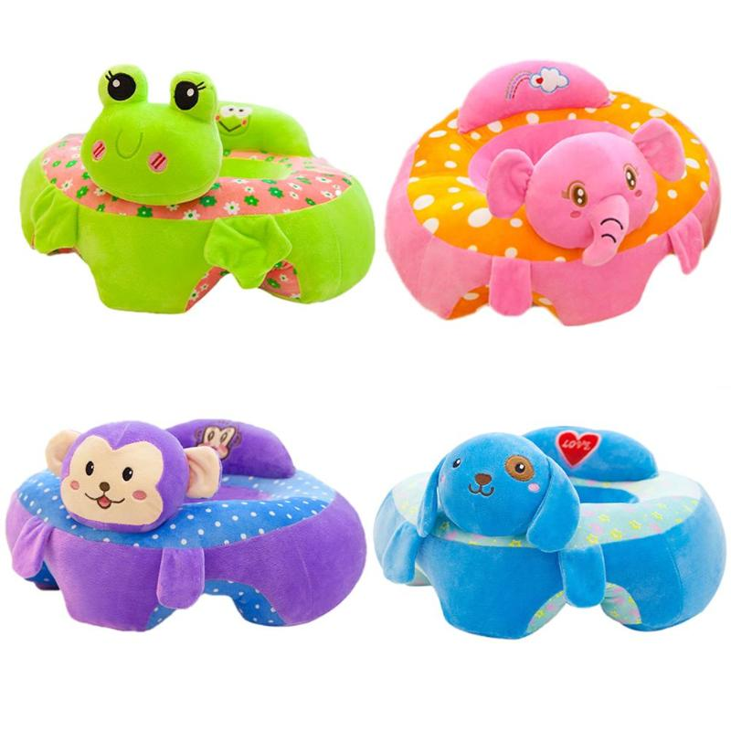 Cute Animal Short Plush Baby Seats Sofa Toys Cartoon Animal Seat Kids Plush Toy Learning Chair Leather Case Baby Sofa Toy