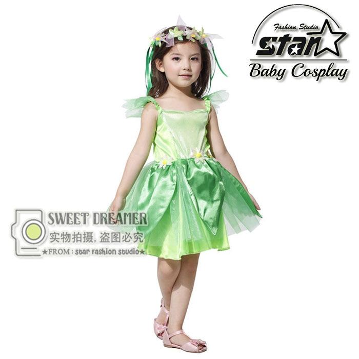 Novelties Green Elf Sprite Dress Peter Pan Girls Tinkerbell Garden Fairy Kids Costume Halloween Lovely Woodland Princess Dress forum novelties men s teenz unisex costume toga