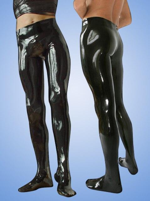 Seksowne czarne męskie lateksowe legginsy z gumowymi lateksowymi spodniami Plus rozmiar