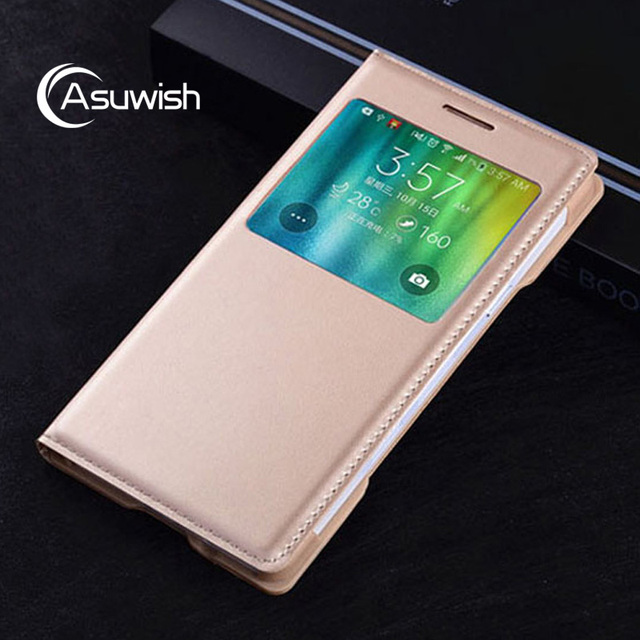 Asuwish Smart Flip Cover Leather Phone Case For Samsung Galaxy A5 2015 A 5 7 A7 A52015 SM A500 A500F A700 A700F SM-A500F View 2