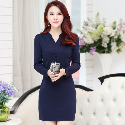 Plus Size 2018 New Spring Fashion Women dress Slim In Long Mother Backing  Dresses Navy Wine a18eebb8662e