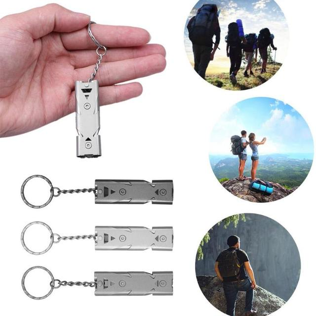 High Quality Double Pipe  Whistle High Decibel Stainless Steel Outdoor Emergency Survival Whistle Keychain Cheerleading Whistle 1