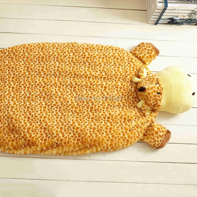 Cute giraffe yellow children/kids/toddler nap summer blankets mat carpet linens high quality soft plush fabric 160x82cm toys