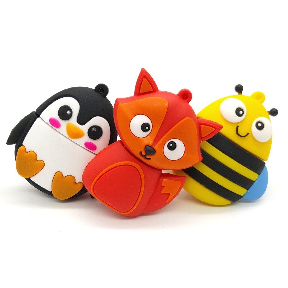 Cute Animals Cartoon USB Flash Drives 4GB 8GB 16GB 32GB 64GB Pendrives USB Stick Pen Drive Memory Pens Memoria USB 2.0