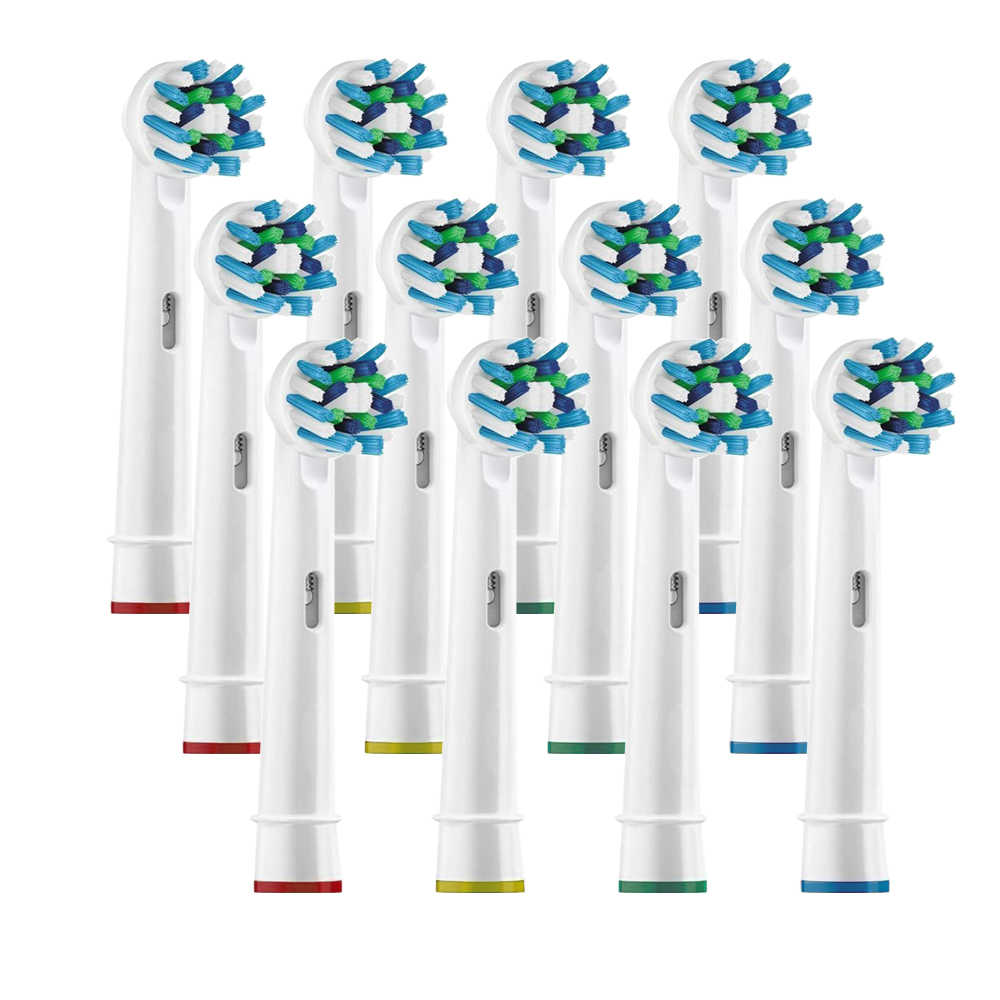 Oral B Opzetborstels-Pack van 12 Crossaction Oralb Braun Generic Elektrische Tandenborstel Heads-Cross Actie Tandenborstels