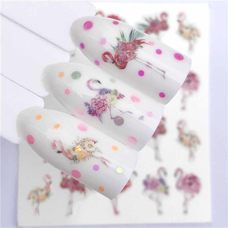 YWK 1 Blatt Nagel Wasser Abziehbilder Edle Vintage Halskette Mit Blume Muster Tranfer Sticker Flamingo Obst Nagel Kunst Dekoration