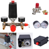 240v Adjustable Pressure Switch Air Compressor Switch Pressure Regulating With 2 Press Gauges Valve Control Set