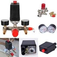 240v Adjustable Pressure Switch Air Compressor Switch Pressure Regulating With 2 Press Gauges Valve Control Set