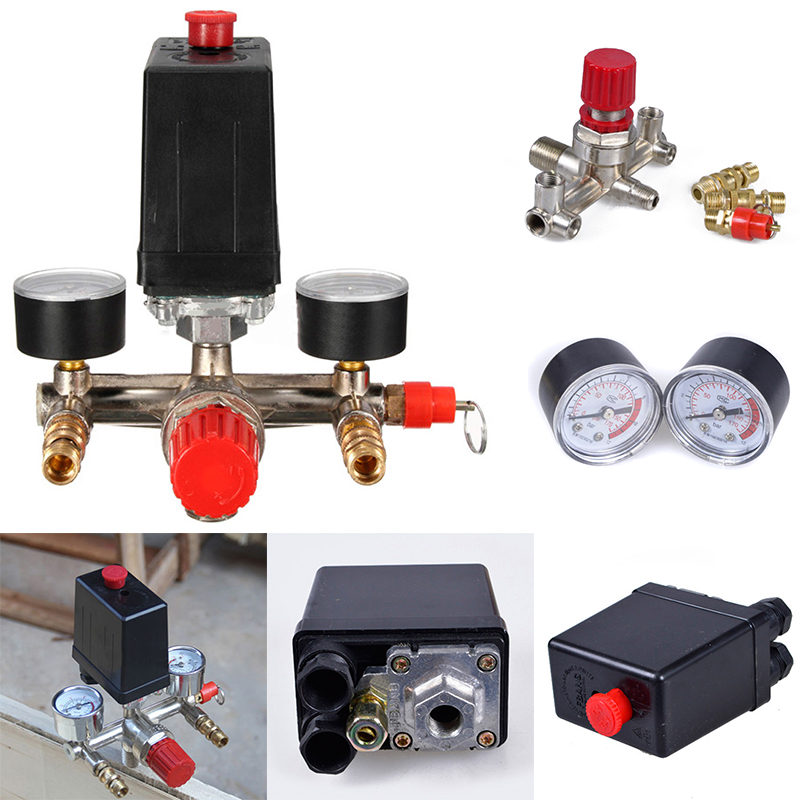240v Adjustable Pressure Switch Air Compressor Switch Pressure Regulating with 2 Press Gauges Valve Control Set air compressor pressure valve switch manifold relief regulator gauges 7 25 125 psi 240v 15a popular