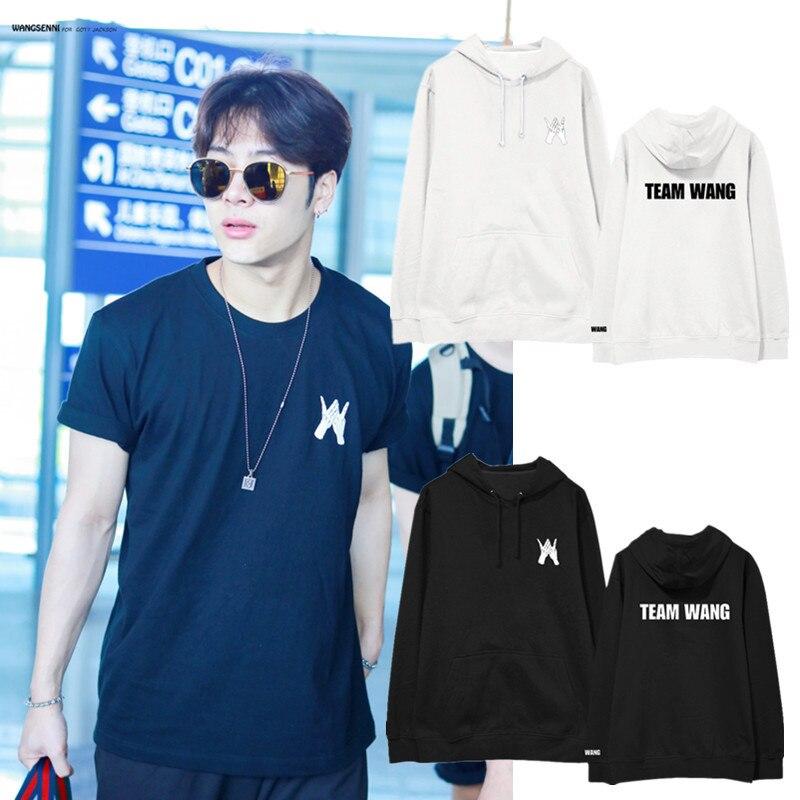 Kpop GOT7 Team Wang Same Cap Hoody Jackson Autumn Unisex Suit Long Sleeve Hoody Outerwears Coat