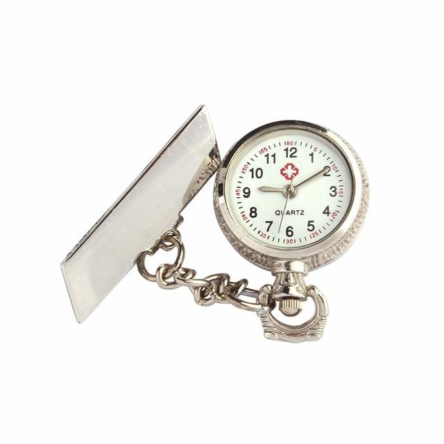#5001 Autumn LL Unisex Arabic Metal Fibula Nurse White Dial Quartz Pocket Watch Gift