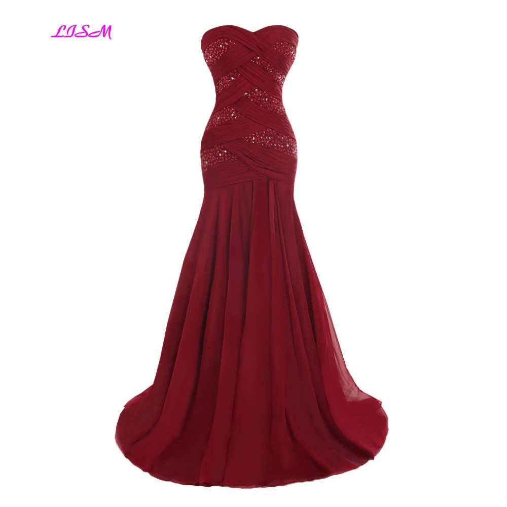 Mermaid Chiffon Evening Dresses Sweetheart Beadings Fishtail Long Party Gowns Bodice Sweep Train Formal Dress Avond Jurken in Evening Dresses from Weddings Events