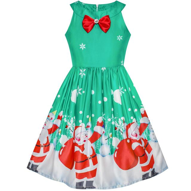 fc9299716 Girls Dress Christmas Santa Snow Xmas Party Turquoise 2018 Summer ...
