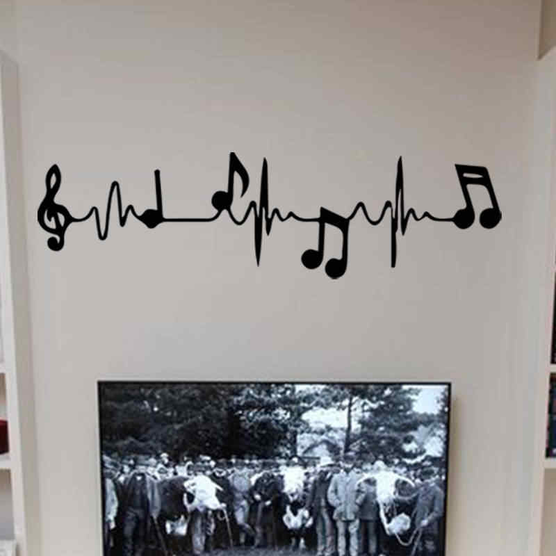 Music Piano Notes Creative Electrocardiogram Art Wall Decal for Living Room Bedroom Background Wall Decoration