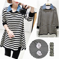 Winter Maternity Stripe Long Sleeve Maternity Shirt Trendy Korean version of pregnant women T-shirt  Maternity cotton plus velve