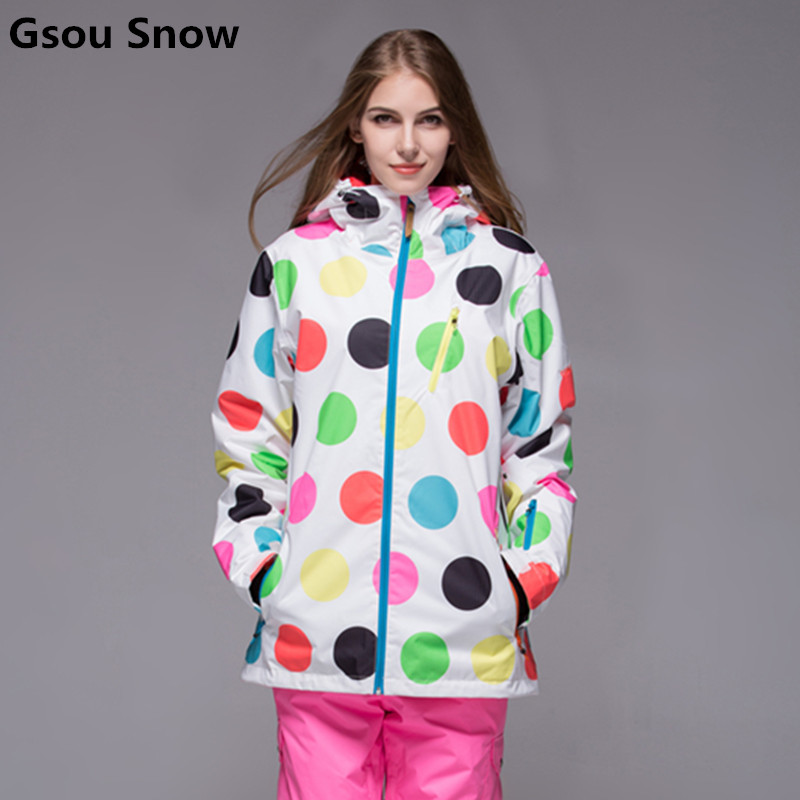Gsou Snow winter ski jacket women polka dot snowboard jacket warm waterproof jacket chaquetas de esqui skiing clothes 2017 gsou ski jacket women snowboard winter snow jacket skiwear ski jas heren clothes esqui warm waterproof