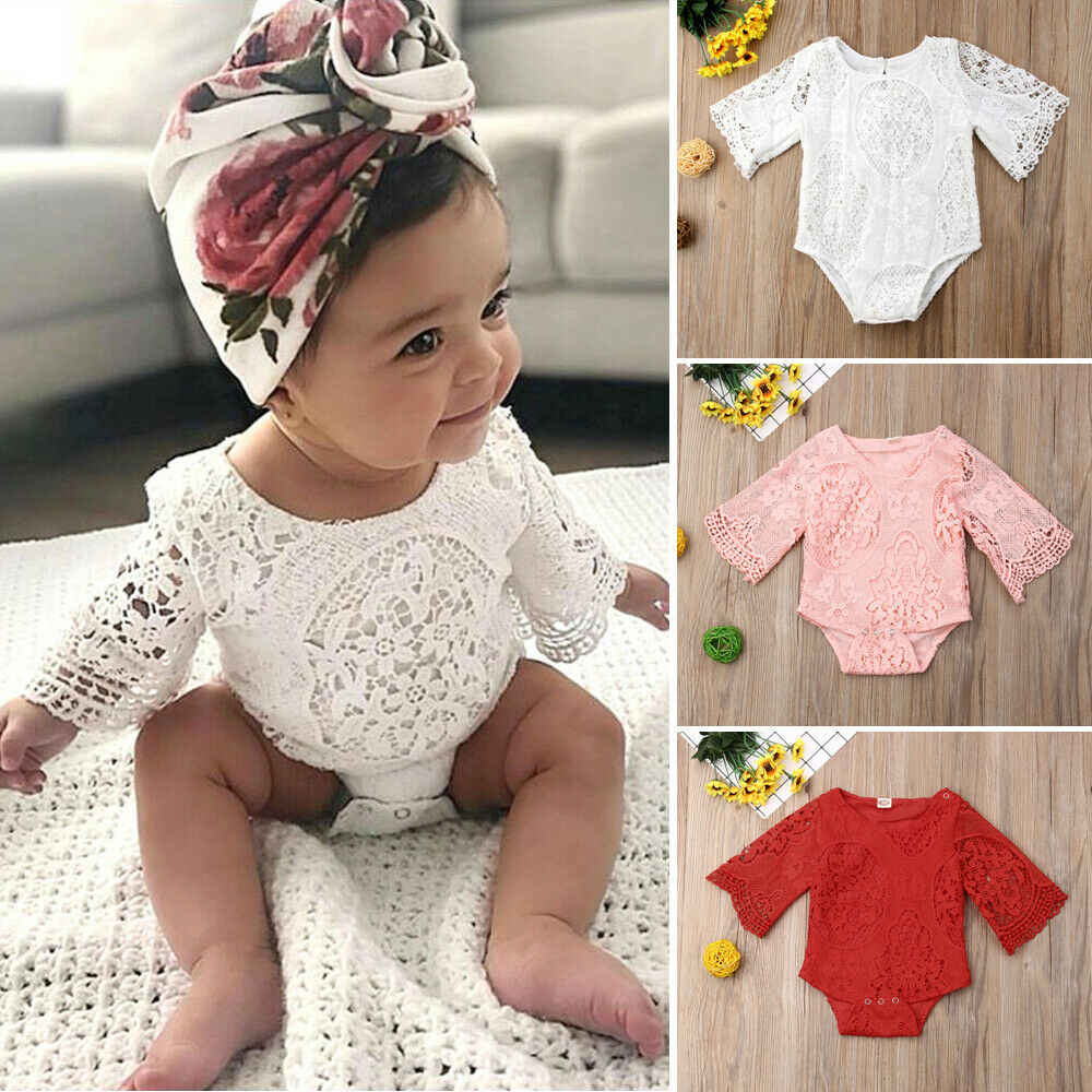 رومبير دانتيل للأطفال الرضع حديثي الولادة بأكمام طويلة بذلة قطعة واحدة للأطفال البنات ملابس تنكرية باللون الأحمر والأبيض