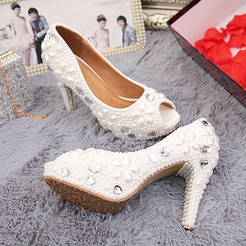 ФОТО Peep toe white pearl rhinestone wedding shoes up high heel shoe genuine leather woman luxury bridal single shoes Beaded Fish toe