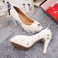 Peep toe white pearl rhinestone wedding shoes up high heel shoe genuine leather woman luxury bridal single shoes Beaded Fish toe