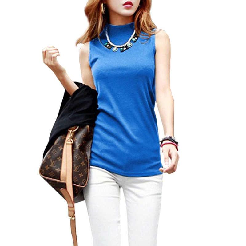 db05f0ccfbff 2019 Женская модная Однотонная футболка без рукавов женские осенние Топы  футболки ...