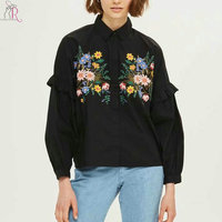 Women Floral Embroidery Shirt Women Frill Trim Long Sleeve Turn Down Collar 2 Colors Casual Spring