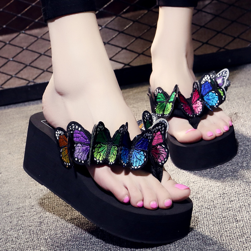 6CM  Handmade butterfly Women Flip Flops Wedges High Heels Outside Fashion Slippers Beach S