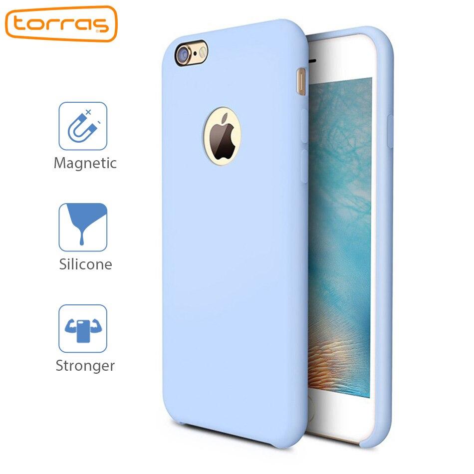 TORRAS Liquido Custodia In Silicone per iPhone 6 6 s Più 7 7 più Cassa Del Telefono Della Copertura Magnetica per Apple In Microfibra di Lusso Casse Del Telefono