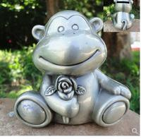 Tinware ornaments metal animal silver tin piggy bank piggy bank russian crafts monkey rose