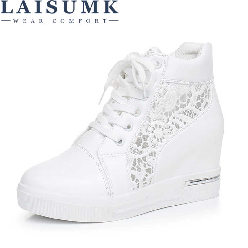 64516768131c LAISUMK Women Wedge Platform Rubber Brogue Leather Lace Up High heel Shoes  Pointed Toe Increasing Creepers
