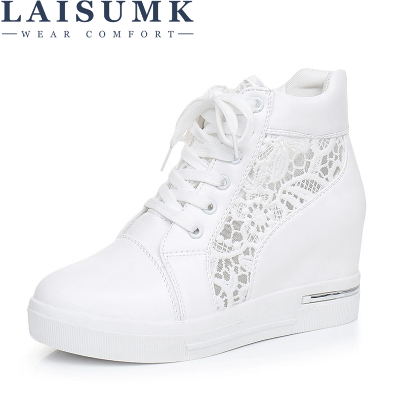 LAISUMK Women Wedge Platform Rubber Brogue Leather Lace Up High heel Shoes Pointed Toe Increasing Creepers White Silver Sneakers
