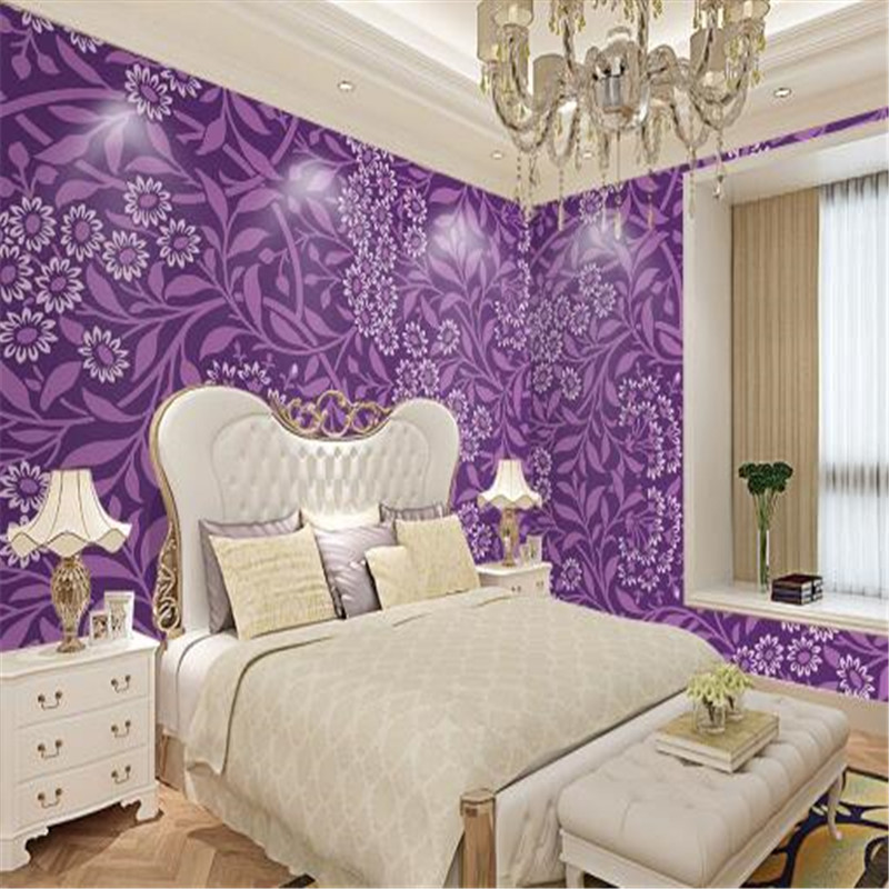 European Luxury Wall Murals Purple Flowers Wallpapers for Living Room Bedroom Vintage Leaf Florals Wall Papers Home Decor Murals stylish diy purple mangnolia and letters pattern wall stickers for home decor