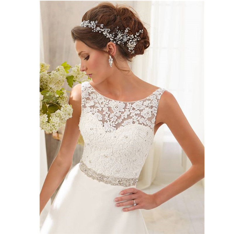 5ddbf7b6 2017 New Cheap vestidos de novias baratos Lace Satin Train White Ivory  Weddind Dresses Gowns Plus Size robe de mariage Custom-in Wedding Dresses  from ...