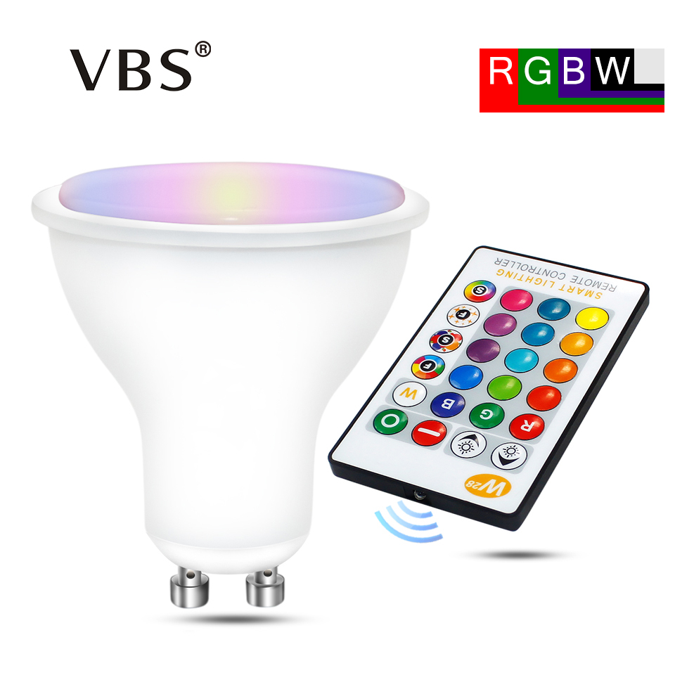 GU10 RGB Bombillas Led 8W GU10 RGBW RGBWW Led Bulb Dimmable Pure White Warm White GU 10 Led Bulb 16 Colors With Remote Control ...