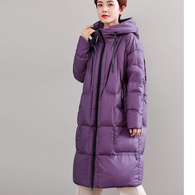 Hiver Plus 2019 Nouveau Européenne Mince Épais Long Survêtement De Chaud Mode À Femmes Femme purple Qualité Ly414 Moyen Veste Manteau Black Doen Capuche Haute nqffYXw80
