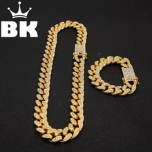 Mens Hip Hop Gold Color Iced Out Crystal Miami Cuban Chain Gold Silver Necklace & Bracelet Set HOT SELLING THE HIP HOP KING