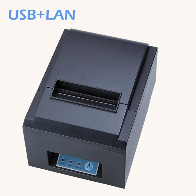 80mm impresora térmica de recibos pos impresora de Alta calidad ZJ-8250 máquina de corte automático de velocidad de impresión USB + lan interfaz 230 mm/s
