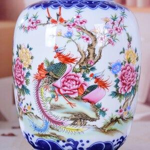 Image 4 - Blue and White Ceramic Vase Pheonix Porcelain Flower Ancient Chinese Figure Story Pattern Vase Handmade Jingdezhen Flower Vases