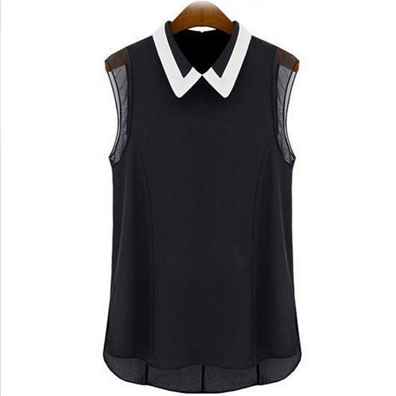 אלגנטי שיפון חולצות נשים להנמיך צווארון רופף שרוולים אפוד קיץ Pactwork לבן שחור חולצות משרד ליידי חולצה חולצות