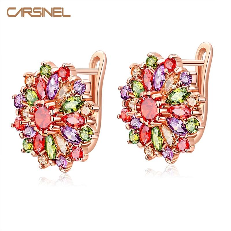 CARSINEL Марка 2017 Нови модни обеци с обръч за жени Цветни цирконови уши дамски обеци за бижута ER0293