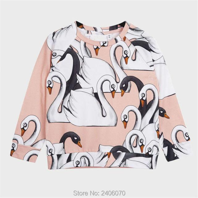 Outono moda t-shirt para meninas Branco Cisne animal print de manga longa bobo choses tops t crianças meninos roupas de bebê camisa