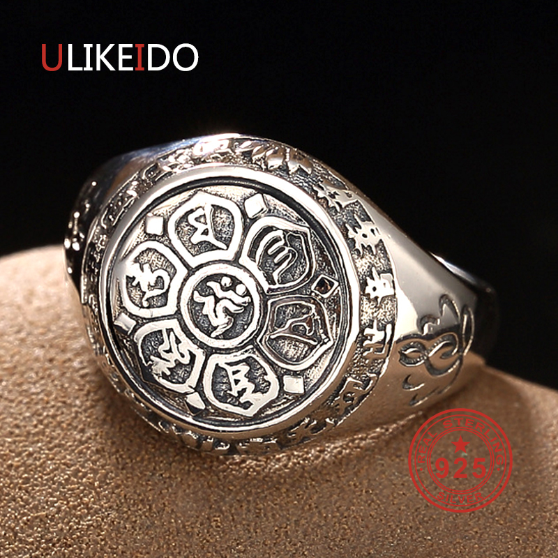 Vintage 100% Real 925 Sterling Silver Rings Lotus Flower Buddhistic Six Words' Mantra Jewelry For Men Lovers Gifts R1018 925 silver buddha rings for men women jewelry six words of mantra 100