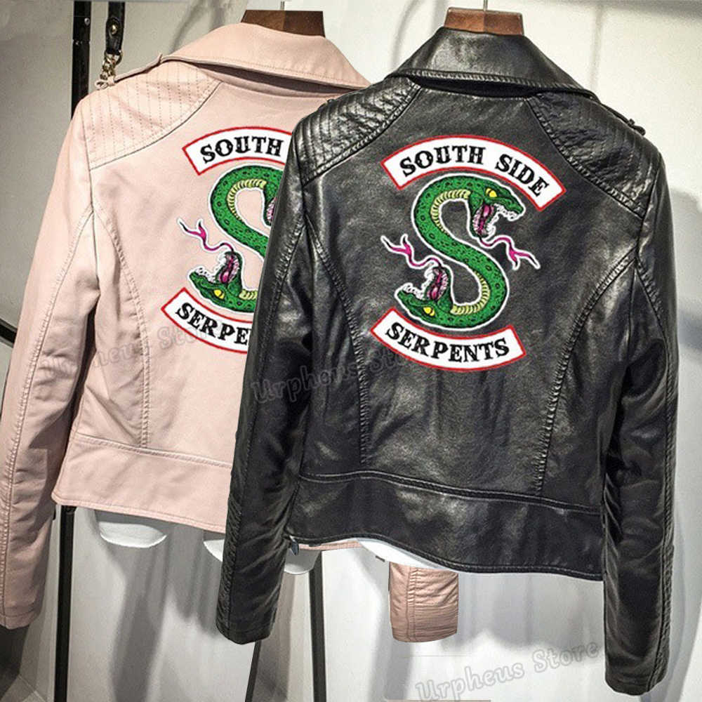 Black/Pink Color Southside Riverdale Serpents Pu Leather Jacket Print Serpents Leather Jacket For Women
