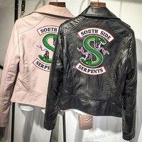 Black/Pink Color Southside Riverdale Serpents Pu Leather Jacket Print Serpents Leather Jacket For Women