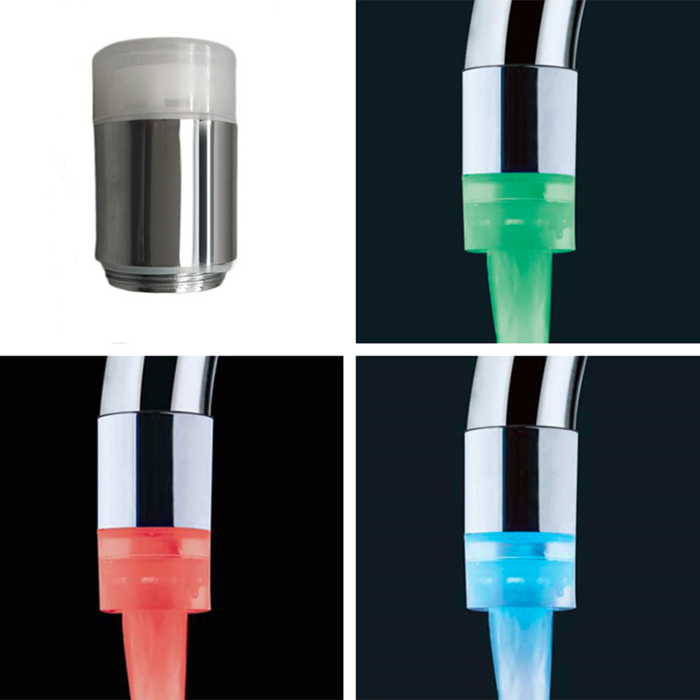 1Pc Water Glow Shower 3 Color Changing LED Tap Faucet Light Temperature Sensor
